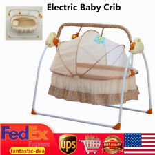 Electric Baby Crib Bassinet Auto-Swing Infant Music Cradle Cot + Remote Control