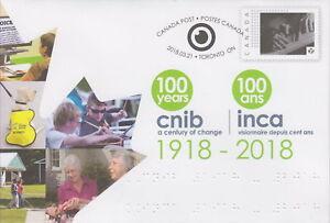 CANADA 2018 CNIB 1918-2018 Special Event Cover