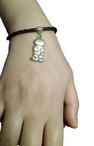 Unique Palestine Handala Silver pendant handmade fancy black leather bracelet
