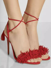 Aquazzura Wild Thing 105 Fringe Tasseled Suede Sandals Heels Orange Sz 37