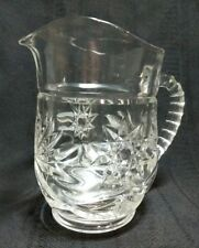 Vintage Clear Glass Pitcher Sunburst and Star Pattern Notched Handled Pressed Gl