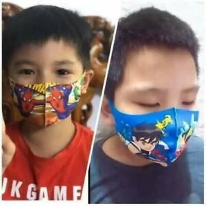 2 Pcs Kids Face Mask Cartoon Spiderman Doraemon Frozen Washable Reusable