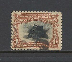 U.S. SCOTT 296 USED VF - 1901 4c RED BROWN & BLACK PAN -AMERICAN ISSUE    CV $18