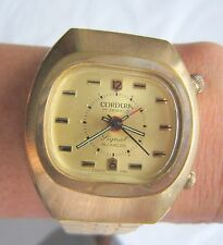 STUNNING MEN CORDURA ALARM WINDING WRIST WATCH SWISS MADE WITH GOLDFILLED BAND