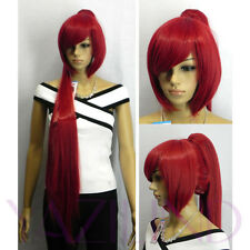 Bob Long Straight Fire Red Ramp Bangs Ponytail Synthetic Hair Full Wig
