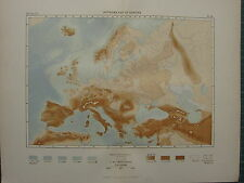 1886 Antique Map ~ Hysometry Of Europe Land Heights Sea Depths