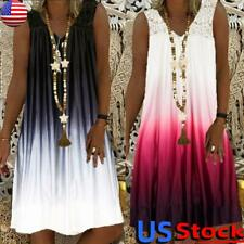 Plus Size Women Summer Loose Tank Mini Dress Casual Beach Sleeveless Sundress US