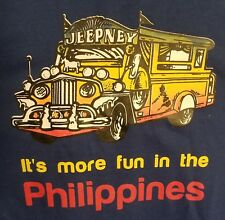 JEEPNEY Fun in the Philippines blue graphic L  Tshirt