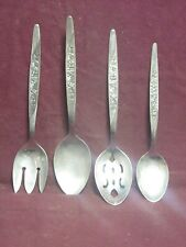 4 National Stainless Japan Serving pieces ROSE VINE