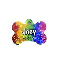 Rainbow SparKle Pet ID Tag Metal Bone Dog Name Personalised Double Sided