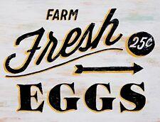 "TIN SIGN ""Farm Fresh Eggs 25 Cents"" Food Rustic Wall Decor"