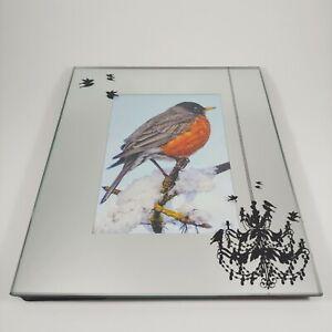 Mirrored Glass Black Bird Silhouette Picture Photo Frame - 3.5x5.5 Freestanding