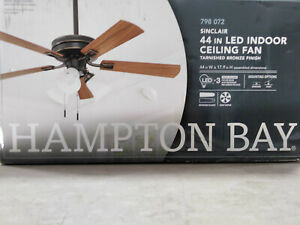 Hampton Bay Small Room Ceiling Fan Light Kit 44 Inch LED Indoor Tarnished Bronze