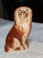 "Vintage Ceramic 2.75"" Brown Porcelain Dog Cocker Spaniel Pekingese Figurine"