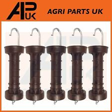 5 x Heavy Duty Electric Fence Arch Hook Gate Handle + Spring Inside Insulator