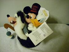 Disney Store 2000 Happy New Year Plush Characters in Top Hat Mickey Goofy Donald