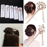 US Vintage Chinese Style Rhinestone Hair Chopsticks Stick Hairpin Chignon Pin