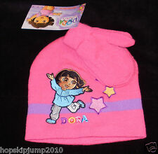 DORA the EXPLORER KNIT HAT BEANIE & MITTENS ~ NWT