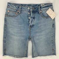 Free People Avery Pacific Blue Wash Denim Bermuda Shorts Size 25 NEW $78 Women