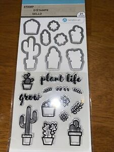 Plant Life Clear Acrylic Stamp & Die Set by Hampton Art SC0829 Cactus NEW