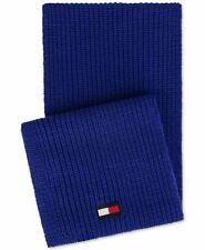 Tommy Hilfiger Men's Scarf Bright Blue Ribbed Knit Logo Flag Acrylic