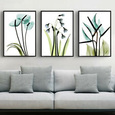 3 Piece Canvas Prints Set - Transparent Bluebell Flowers Digital Art - Unframed