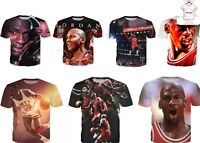 Michael Jordan Best NBA Basketball Player Chicago Bulls T-Shirt 3D Print S-7XL