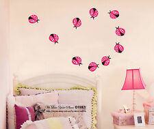 Set of 10 Pcs Ladybugs Kids Wall Stickers Nursery Decor Home Decal Art Mural DIY