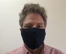 3 pack - Large Navy Blue Face Mask Unisex Adults Cotton Blend Summer Washable