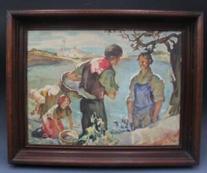 Original Pulp Noir Illustration Art Painting Figures in Landscape by Harve Stein