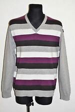 Homme esprit pull zip cardigan 50% laine rayé gris taille xl xlarge vgc