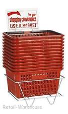 Shopping Baskets Set of 12 Red Durable Break Resistant Plastic w/ Metal Stand