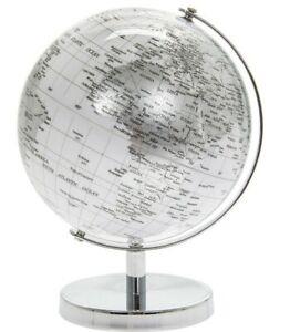 Silver & White World Globe Vintage Rotating Atlas Office Desk Ornament 18cm NEW