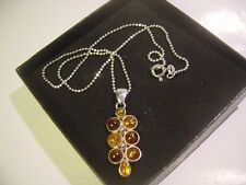 """SOLID 925 SILVER 16 """" BALLS CHAIN REAL 3 COLOURS AMBER PENDENT-VINTAGE-QUALITY"""
