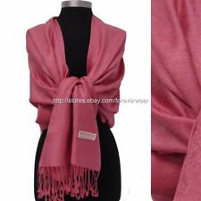 NEW Women Soft PASHMINA SILK Classic Solid Dust Pink Paisley Scarf Wrap Shawl