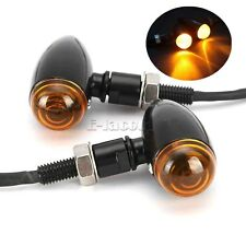 Black Motorcycle Turn Signals Mini Bullet Blinker Amber Indicator Lights