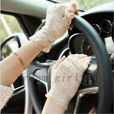 Wedding Bridal Party Driving Lace Half Finger Fingerless Gloves UV Protection
