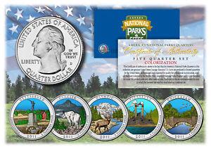 2011 America The Beautiful COLORIZED Quarters U.S. Parks 5-Coin Set w/Capsules
