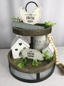 Farm Fresh Farmhouse Tier Tray Decor Chicken Pig Eggs Wood Signs 3 Piece Set