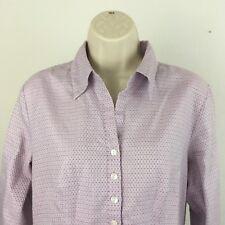 Talbots Petites Blouse Long Sleeve Button Up Top Career Cotton Lavender Size 10