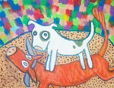 American Pit Bull Terrier Rodeo Bull Dog Outsider Art 8 x 10 Giclee Print Ksams