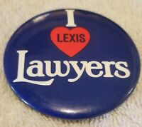 I Love Lexis Lawyers Vintage Pin back Pin Collectible Button Badge