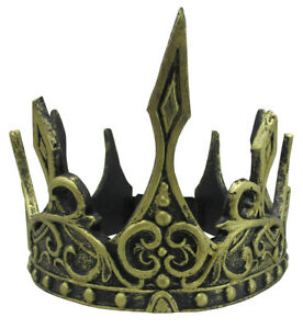 Adults Dark Medieval Game Renaissance Queen King Gold Crown Thone Celtic Costume