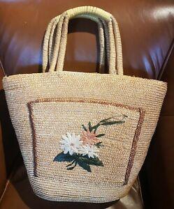 Ladies Wicker Shopping Bag Vintage Lined Floral Basket