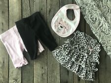Newborn Baby Girl Outfits Clothes - NB Lot- Animal Print Dress- Pants - Bear Bib