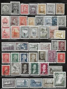 Argentina Officials Overprinted Stamps Collection of 45 Different Mostly Mint