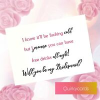 Funny will you be my bridesmaid maid of honour proposal card Winter wedding