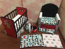 Barbie Baby Nursery Set Furniture Crib, Baby Bottle,Sofa ,Carrier. Tsum Tsum