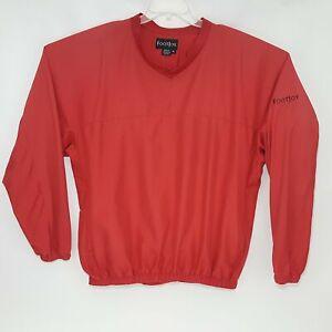 FootJoy Packable Long Sleeve XL Red V-Neck Pullover Windbreaker Jacket Coat
