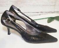 Ellen Tracy Shoes Womens Size 7.5 Black Sequins Echo Heels